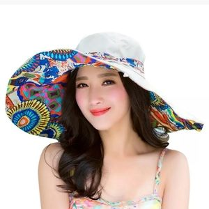 New Foldable Reversible Cotton Wide Brim Hat